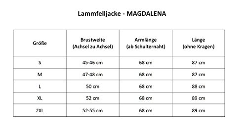 Lammfelljacke - MAGDALENA Damen Merino Felljacke Lederjacke Winterjacke mit Kapuze Size L, Color Cognac - 5