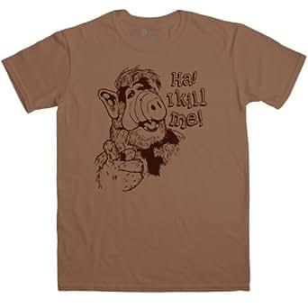 Mens Inspired By Alf T Shirt - I Kill Me - Chestnut - Small
