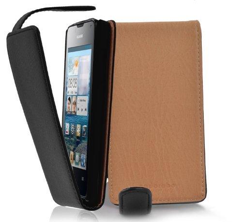Cadorabo Hülle für Huawei Ascend Y300 - Hülle in Oxid SCHWARZ - Handyhülle aus Strukturiertem Kunstleder im Flip Design - Case Cover Schutzhülle Etui Tasche