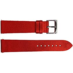 Watch Strap in Red Satin - 20 - - buckle in stainless steel - B20035
