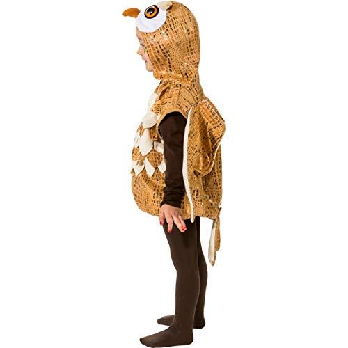 e Kinder-Weste Eule mit Mütze & Flügeln / Braun-Weiß in Größe 104, 3 - 4 Jahre / Hübsches Outfit Käuzchen für Jungen & Mädchen / Ideal zu Kinder-Karneval & Fastnacht ()