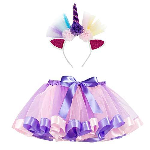 LSHEL Kinder Rainbow TüTü Rock für Kleinkind Mädchen Ballett Kostüm Fotos mit Einhorn Blume Stirnband für Little Pony Dress Up Fun, Bildfarbe N, 9-11 Jahre ()