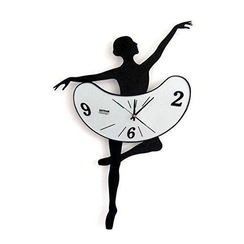 """VENKON - Wanduhr """"Tanzende Zeit"""" in Form einer Ballerina Figur im klassischen Sprung"""