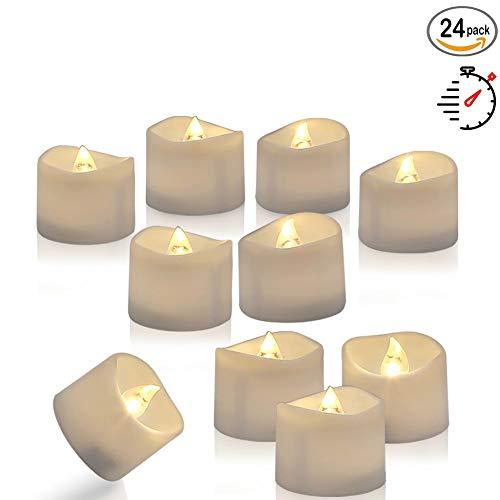 Homemory 24 Led Teelichter Elektrische mit Timer, 6 18 Stunden Aus, 3.6 x 3.6 cm Flackernd Batteriebetriebene Kerzen, Plastik, Warmweiß
