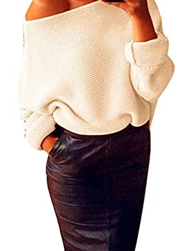 Odejoy Womens Off Spalla Chunky Maglia Maglia Maglia oversize Maglia Maglia Donna Maniche Lunghe Pullover Maglia...