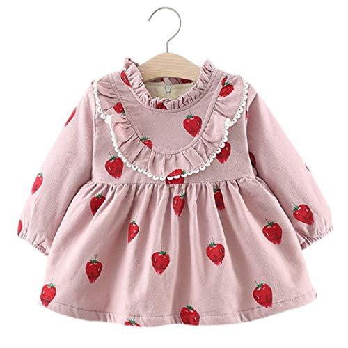 Baby Mädchen Kleider, Allskid Winter Langarm Erdbeere Gedruckt Warm SAMT Süße Spitze Rosa Prinzessin Girls Dress