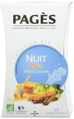 PAGÈS Infusion Nuit Miel Tilleul Cannelle Bio 20 Sachets 30 g - Lot de 4