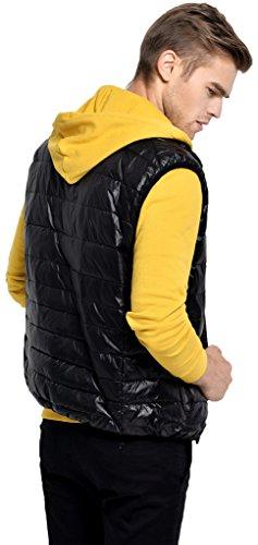 Sawadikaa Herren Übergröße Ultra Leicht Verpackbar Kissen Puffer Daunen Weste Winter Jacke Schwarz