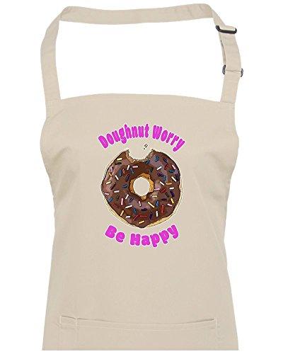 Donut Worry, BE Happy- Funny Unisexe Tablier de cuisine à partir de Fatcuckoo, naturel, Taille Unique