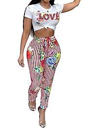 Hibote Mono Mujer Largo Dos Piezas Conjuntos, Sexy Crop Top Camiseta Pantalones a Rayas de