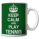 Keep Calm And Play Tennis Mug Cup Gift Retro