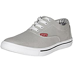 Kraasa Men's Grey Canvas Sneakers- 7