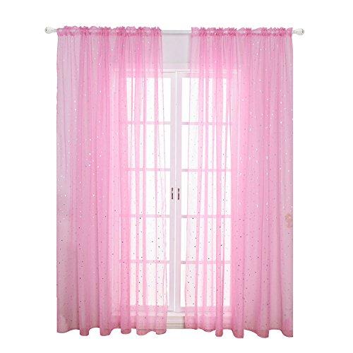 Star a rete voile tulle finestra tenda in voile, moderno per camera da letto bambini soggiorno, tende (rosa)