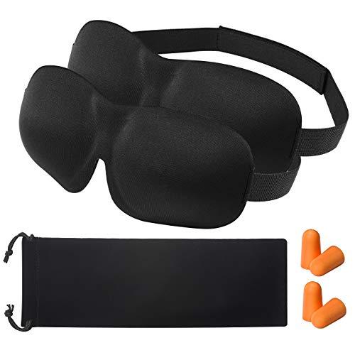 3D Schlafmaske Augenmaske für Frauen OMORC mit Ohrstöpsel paar und Tasche 2-Pack