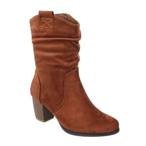 Damen Stiefeletten Cowboy Western Stiefel Boots Schlupfstiefel Schuhe 37 (41, Camel 66) (Flache Stiefel Camel Damen)