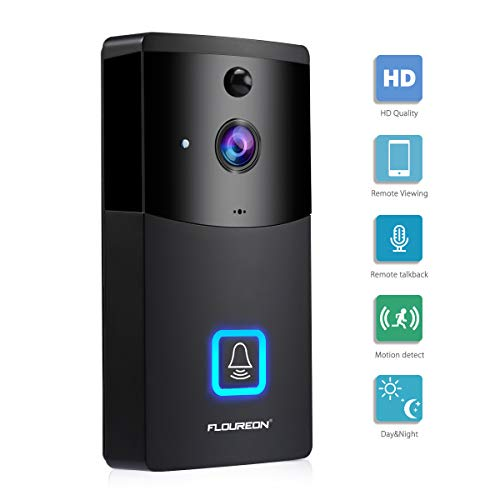 FLOUREON Campanello Video WIFI, Sicurezza Intelligence 720P Campanello con slot Micro SD, Talk e video bidirezionale, Rilevamento movimento PIR, Controllo APP per iOS e Android