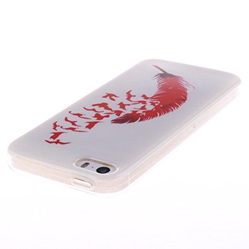 ZeWoo TPU Schutzhülle - TX018 / Ein sexy Mädchen - für Apple iPhone 5 5G 5S Silikon Hülle Case Cover TX007 / Rote Feder und Vogel