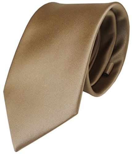TigerTie Designer Satin Krawatte braun goldbraun uni Polyester - Tie Schlips
