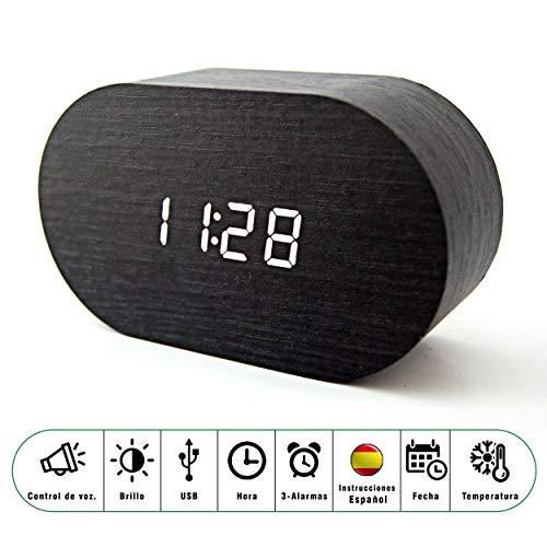 SACANELL DESIGN Reloj Despertador Digital Madera