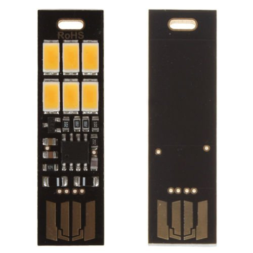 confronta il prezzo online Ultra Thin 6LED USB Night Light Pocket Lamp portachiavi Touch Stepless KaltweißX5