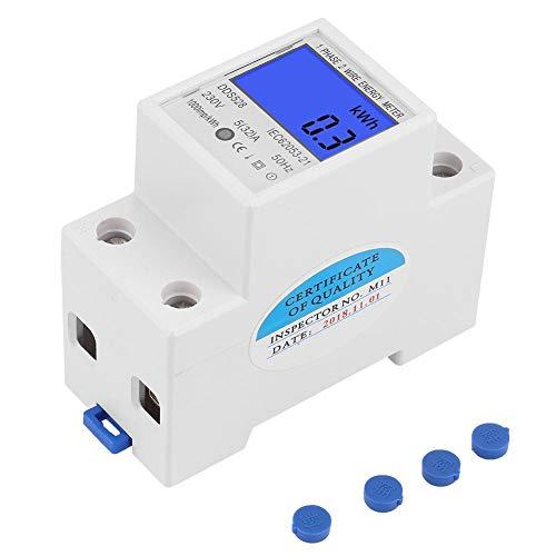 LCD-Energiemessgerät, Keenso 5-32A 230V 50Hz Digital-Hintergrundbeleuchtung Wattmeter Einphasen-DIN-Schienenmontage KWh-Messgerät DDS528