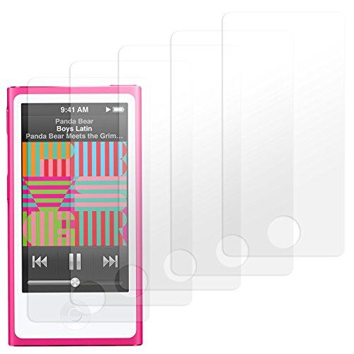 schutzfolie - 5 Stück - Premium Folien Kristallklar mit Anleitung für Apple iPod Nano 7 Generation - 2015 Version (Ipod Nano 5. Generation Cover)