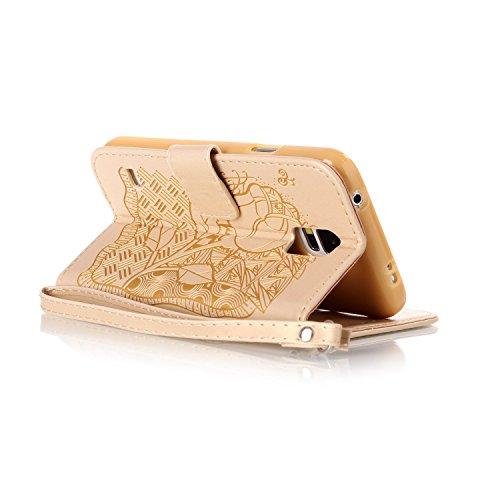 Hülle für Samsung Galaxy S5 Mini, Tasche für Samsung Galaxy S5 Mini, Case Cover für Samsung Galaxy S5 Mini, ISAKEN Blume Schmetterling Muster Folio PU Leder Flip Cover Brieftasche Geldbörse Wallet Cas Rose Dessin Gold