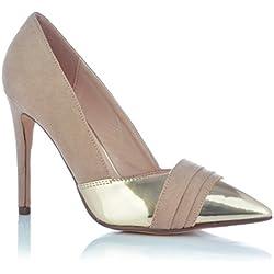 High Heels Stiletto Pumps Abendschuhe Wildleder-Optik Gold Glanz Damenschuhe EUR 38 Beige