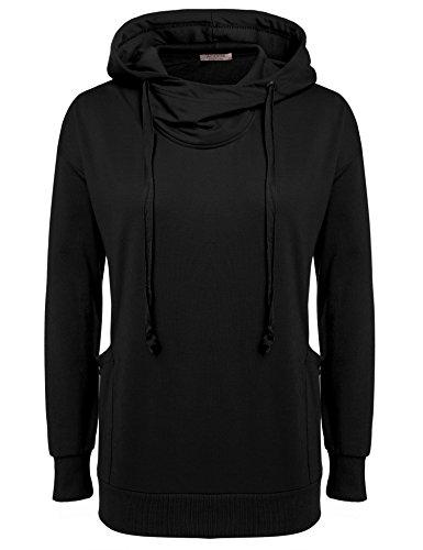 ACEVOG Damen Langarm Hoodie mit Taschen Drop Schulter Langarmshirt mit Kapuze Kapuzenpullover Sweatshirt Schwarz