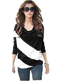 Demarkt Femme Pull Sweatshirt avec Manche Long 3 Taille 4 Couleur Noir Gris Bleu Violet
