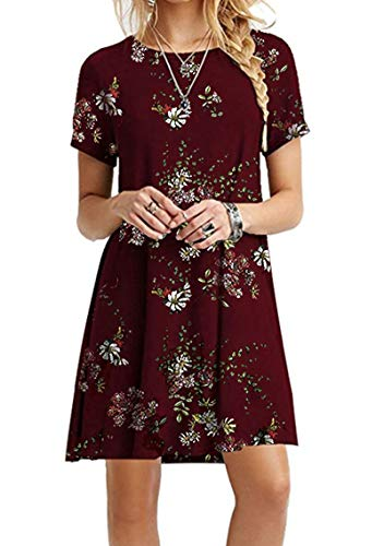 Baumwolle Mini-kleid (YMING Damen Frühling Sommer Kleid Casual Kurzarm Tunika Rundhals Basic Blusenkeid Mini,Weinrot Blumen,S/DE 36)