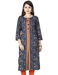 Blissell Womens Casual Cotton 3/4 Sleeve Straight Printed Kurti/ Kurta Tunic Top