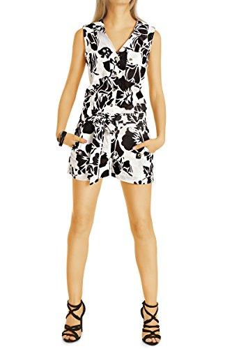 Bestyledberlin Damen Jumpsuit, Geknöpfter kurzer Overall, Geblümter Einteiler k77p L schwarz (Kleid Safari Style)