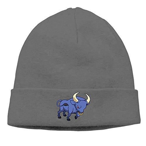 TKMSH Angry Bull with Red Eyes Printed Plain Skullies Beanie Toboggan Hat Cap Unisex Vintage Hats