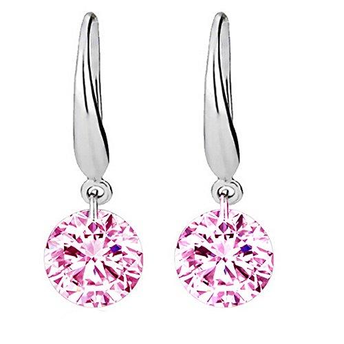 yaoyue-Boucles d'oreille en argent 925sterling diamant d'oreille cristal bijoux Rosa