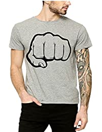 Lime Fashion Grey Colored Printed Round Neck T Shirts For Men