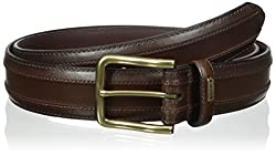 Tommy Hilfiger Mens Big-Tall Big - Tall 38mm Piecd with Stitch Belt, Brown, 52