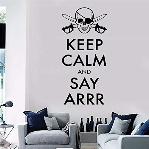 WWYJN Quote Wall Sticker Pirate Skull Decals Vinyl Home Decor Teen Room Murals Removable Wallpaper  57x122cm