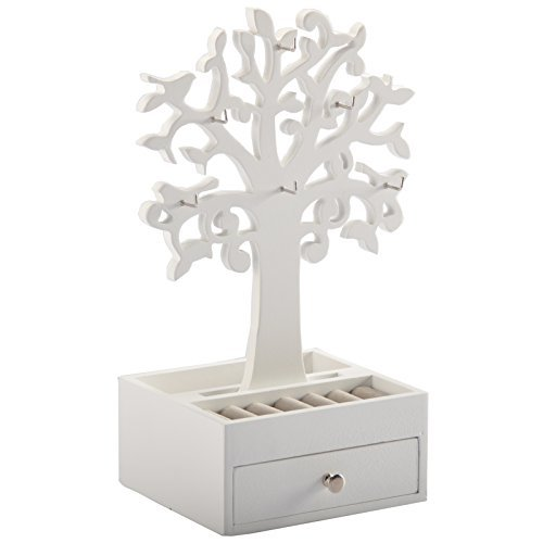 DRULINE Schmuckkasten Schmuckbaum Aufbewahrungskasten Weiß mit 6 Metallhaken und abnehmbarem Schmuckbaum und Ringhalter 7 cm x 15 cm x 13 cm