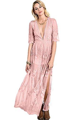 78b77875602 Wicky LS Femmes Sexy Long Short Sleeve Dress Combi-short en dentelle à  encolure