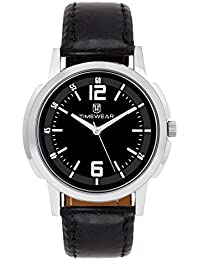Timewear Analog Stylish Fashionable Black Round Dial Leather Strap Watches For Men And Boys