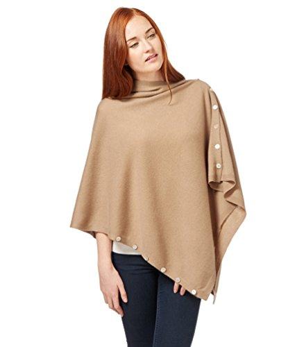 WoolOvers Poncho boutonné - Femme - Cachemire & Mérinos Camel