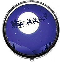 LinJxLee Christmas Night Santa Reindeer Round Pill Case Pill Box Tablet Vitamin Organizer Easy to Carry preisvergleich bei billige-tabletten.eu