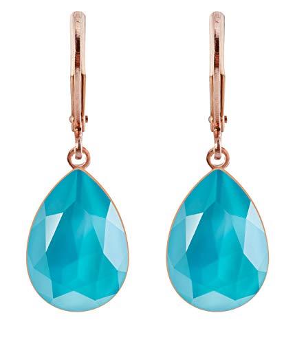 petra kupfer Damen Ohrringe Ohrhänger Tropfen Anhänger 1 Swarovski®-Kristall Meer Blau Azur Blue Rose Gold Vergoldet rdh1-rg-azur-blue -