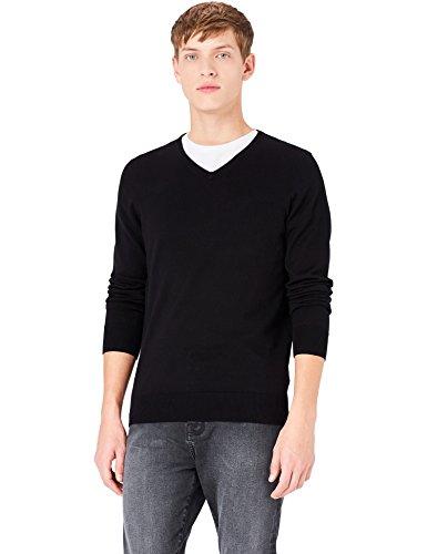MERAKI Baumwoll-Pullover Herren mit V-Ausschnitt, Schwarz (Black), Medium