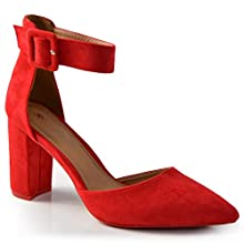 CucuFashion Block Heel Sandals Pointed Heels Shoes, Red, 5 UK