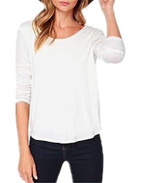 Donna Sexy Senza Schienale Maglietta Manica Lunga Girocollo Camicetta T-Shirt Top CasualePer Le Donne