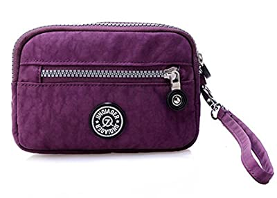 Women's Dual Layers Zipper Purse Waterproof Nylon Wristlet Bag Clutch Wallet Handbag Cell Phone Pouch Coin Purse