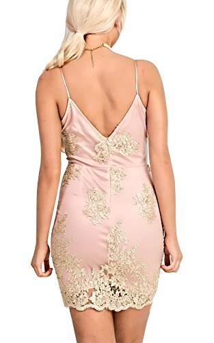 Women's Ladies Stunning Gold Mesh Cami Mini Dress apricot