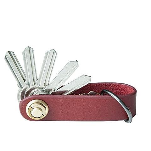 Smart Schlüsselorganizer aus Leder bis 6 Schlüssel mit Geschenkbox, Dunkelrot (Craft Geschenkboxen)